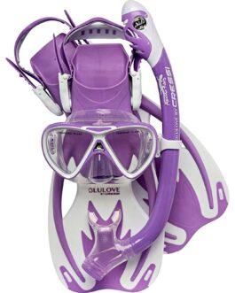 Set de máscara, snorkel y patas Rocks Dry para chicos